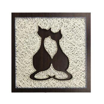 纱线画diy材料包手工制作北欧双猫立体毛线弦丝装饰画钉子绕线画 主图