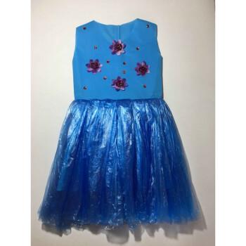 万圣节亲子装diy材料自制环保衣服手工走秀儿童服装女孩男时装秀 天蓝
