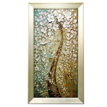 玄关装饰画手绘油画竖版抽象走廊过道客厅壁挂画新款立体发财树 hz