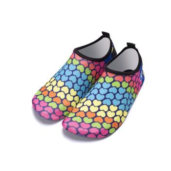 酷然(KORAMAN)浮潜鞋 跑步机鞋男女浮潜三宝亲子沙滩鞋儿童沙滩袜赤足贴肤防滑涉 爱心款 36-37