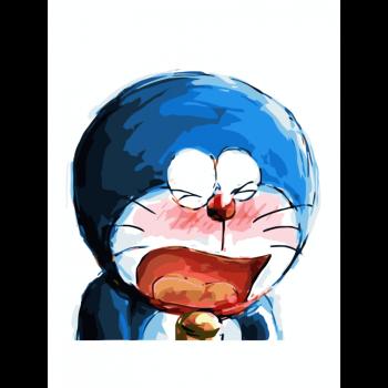 diy数字油画哆啦a梦卡通动漫儿童情侣手绘填色装饰画机器猫表情包 多