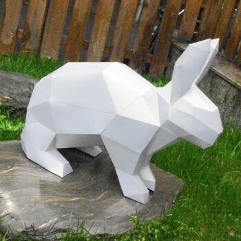 儿童3d立体拼图动物模型几何折纸diy手工拼装纸模型 兔子(送制作工具)