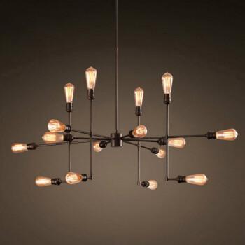 美式复古吊灯16头枝形铁艺吊灯餐厅客厅灯具 多头枝形铁艺 16头含ST64复古LED灯泡