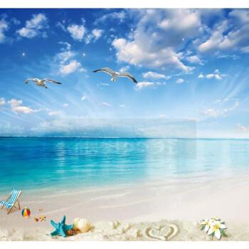 3d海景风景电视背景墙壁纸客厅沙发大海沙滩无缝壁画蓝天海滩墙纸