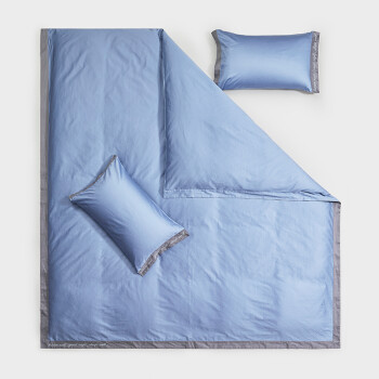LOVO家纺 四件套纯棉60支长绒棉高支高密酒店风床上用品套件 梅尔斯大街蓝色220*240cm