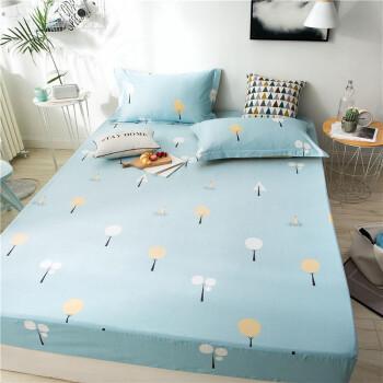 南极人家纺床笠单件全棉加厚加高床罩纯棉防滑床垫套1.8m床套床单席梦思床垫保护套可以配全棉三四件套 美好心情 【单床笠】