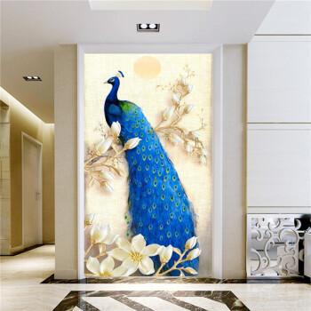 自贴墙纸自粘壁纸自粘玄关画过道走廊竖版壁画酒店装饰画仿真风景画
