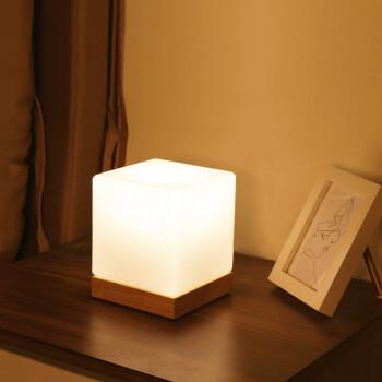 IDERAN 小夜灯 夜灯卧室台灯创意个性简约现代玻璃实木暖光温馨可调光装饰床头灯 原木色 5W LED 暖光 三档调光