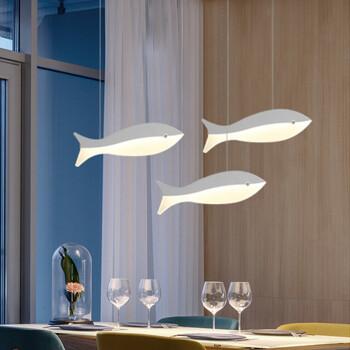 创意吊顶灯具简易鱼线吊灯餐厅咖啡吧台鱼形创意单头三头吊灯 1头小号9w单色