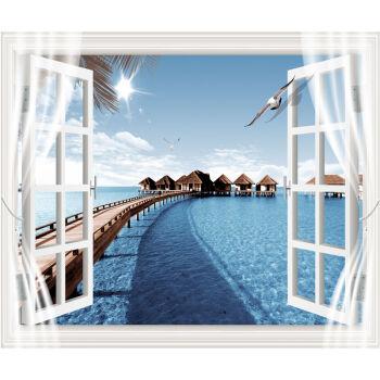 3d仿真立体假窗户壁画装饰画壁纸墙贴自粘风景电视背景客厅卧室