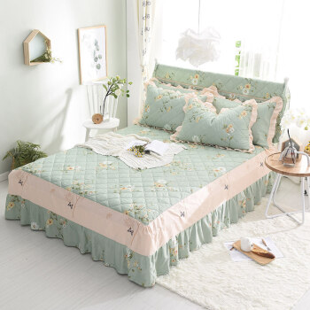 北极绒 全棉床裙加厚床罩夹棉 纯棉床单床垫套 防滑床垫保护套被单 曼妙花语 夹棉 1.5米床 150*200cm