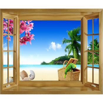 3d仿真立体假窗户墙贴画风景装饰壁画墙纸自粘卧室床头客厅背景墙 047