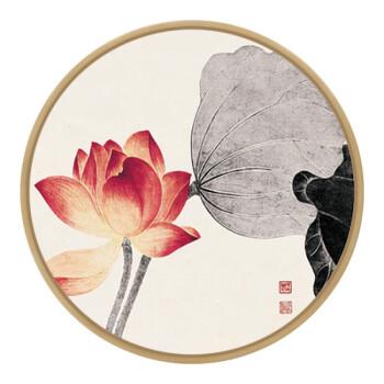 实木圆画新中式圆形禅意客厅装饰画卧室荷花水墨画沙发背景墙挂画 禅