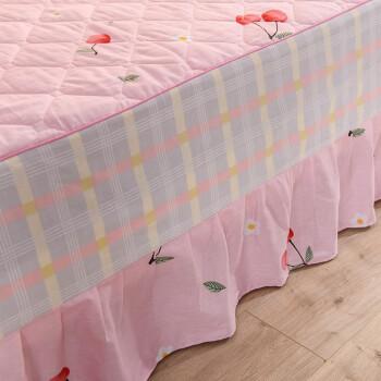思存 纯棉床裙单件 床垫保护套  床笠式床裙床罩单品 可配四件套 华梦甜苑 红 (四件套)1.8米床裙 2*2.3被套