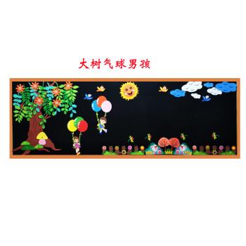 文化墙墙壁布置教室的装饰品黑板报小学花边墙围墙贴纸 大树气球男孩图片