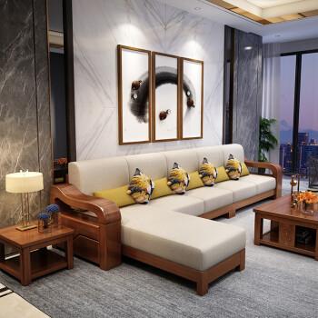 卡贝森胡桃木实木沙发组合新中式大小户型1+2+3布艺沙发客厅家具  四人位+贵妃榻+茶水柜