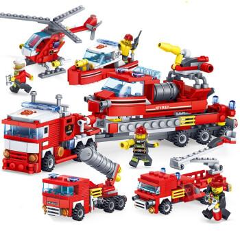 汇奇宝 积木拼装模型消防总局车飞机拼插儿童启蒙玩具男孩礼物6-14岁 城市消防救援队