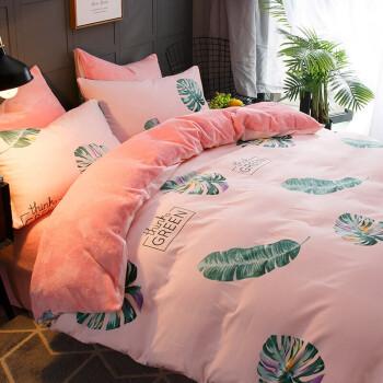南极人NanJiren 法兰绒四件套 加厚保暖珊瑚绒床上用品 1.5/1.8米床磨毛被套200*230cm床单枕套 叶语