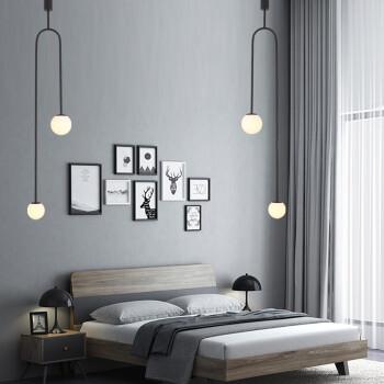 北欧现代极简几何线条灯具简约客厅墙角卧室床头丹麦鱼线网红吊灯 黑色 两头小号  暖光