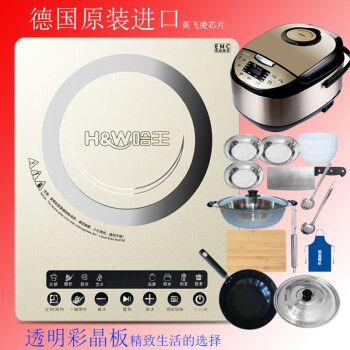 Ha Wang (HW) induction cooker home set fried vegetable hot pot classic waterproof panel timed appointment one-click blast fried 12th set of firepower IND-10.full set and smart rice cooker and dishes