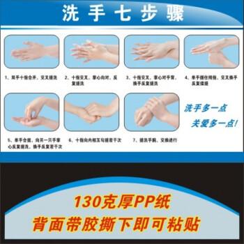 七步洗手法挂图贴画六七步洗手方法图海报标准洗手步骤 pp胶 24寸