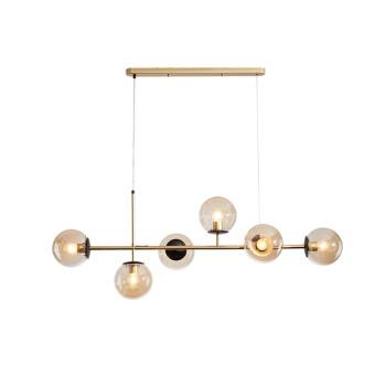 ninLED设计师的灯 后现代六头餐厅吊灯 北欧创意360度六面照明餐桌灯 简约玻璃球鱼线吊灯 金色杆干邑色罩 暖光