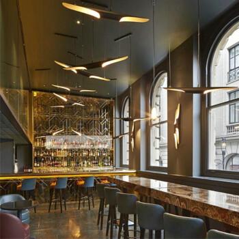 佛山灯具  简约鱼线中岛前台吊灯餐厅客厅酒吧简易灯具北欧创意个性艺术吊灯 100*10CM(黑色)