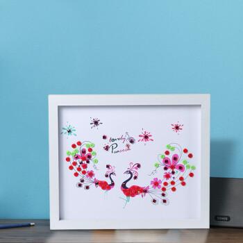 女孩儿童手工创意制作扣子画幼儿园玩具墙贴创意 白色 凤舞孔雀25*30