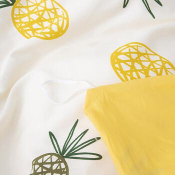 南极人 套件家纺 纯棉全棉四件套 床上用品床单被套 菠萝蜜 1.5米/1.8米床 200*230cm