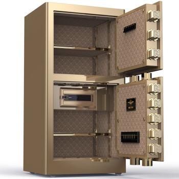 虎牌保险柜家用防盗全钢入墙指纹密码电子80型双门1米1.2米1.5米1.8米大型保险箱办公 领尚100双门指纹+密码 金