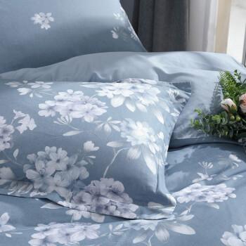 水星家纺 床上四件套纯棉 全棉斜纹床品套件 简约被套床单被罩 花西雅 加大双人1.8米床