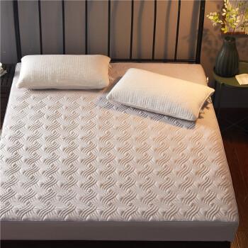 梦琉璃夹棉床罩床笠单件1.8米床棕榈乳胶席梦思全包床垫罩防尘保护套保暖加绒加厚防滑床单1.5m2.0 夹棉四季款-灰色