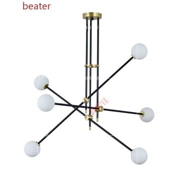 北欧客厅灯具现代创意吊灯极简几何线条造型灯枝形餐厅书房卧室灯 纯铜金色+黑色杆 6头100x70cm
