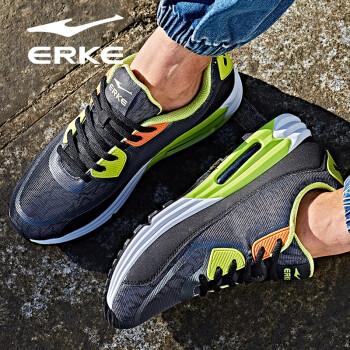 鸿星尔克ERKE男慢跑鞋新款荧光炫彩气垫慢跑鞋51116120007碳灰/酸橙绿41码