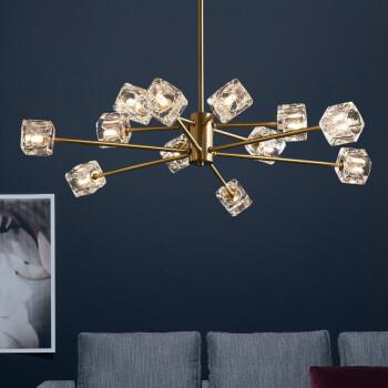 纯铜水晶吊灯 后现代大气客厅枝形吊灯  北欧创意个性铜灯 欧式轻奢水晶餐厅灯 6头66*47CM 暖光