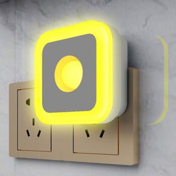 智能人体感应小夜灯led过道家用插电式卫生间厕所自动光控楼道走廊壁灯 方形人体感应插电款-黄光
