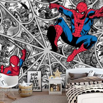 动漫壁纸黑白漫威复仇者联盟系列漫画墙布客厅卧室宿舍墙纸蜘蛛侠 整图片