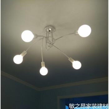 现代卧室客厅枝形吊灯餐厅艺术创意个性吊灯具北欧简约服装店灯饰 黑色-5头-复古LED灯泡