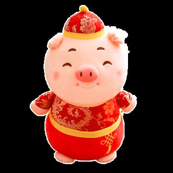 2019猪年吉祥物公仔中国结福字猪毛绒玩具玩偶新年年会活动礼品 眯眼