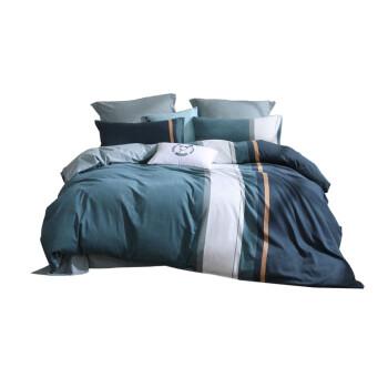 水星家纺 床上四件套纯棉 全棉磨毛活性印染套件秋冬加厚被套床单被罩 风津 加大双人1.8米床