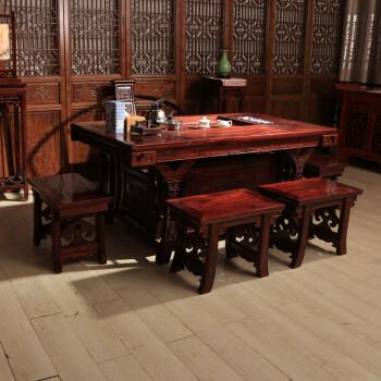 实木仿古茶桌 中式家具茶桌茶台 榆木将军台 功夫茶桌椅组合