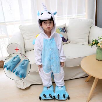 儿童卡通动物恐龙连体睡衣秋冬男女童小孩宝宝法兰绒子装配爪鞋 墨