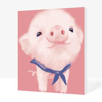 猪兔马手绘装饰画 粉嫩小猪 50*65送白色组装外框(礼品装)