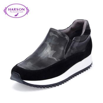 哈森 女鞋新品运动休闲女鞋牛皮革拼色圆头平跟单鞋 hl62406 黑色 36图片