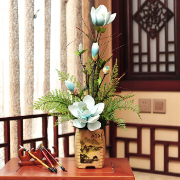 陶瓷中式花瓶 高仿真玉兰花 假花插花盆景客厅花卉花艺餐桌电视柜摆件图片