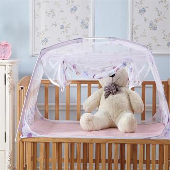 梦露菲家纺 蒙古包式蚊帐高密婴儿床蚊帐防蚊用品 童话-白色 65*115cm婴儿床
