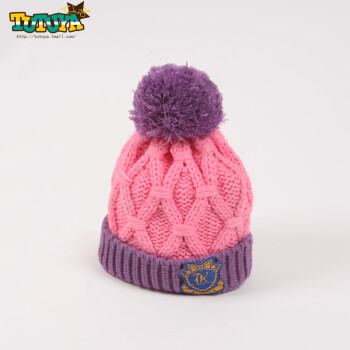 宝宝帽子围巾两件套婴儿3-6个月套装 粉色单帽 毛线 弹性好 手工钩织