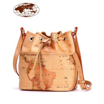 马天尼地图包2015新款女包欧美时尚水桶包女士抽带手提单肩斜跨大包包