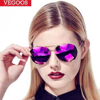 爱上超模 威古氏(VEGOOS)偏光太阳镜女款潮驾驶眼镜镜明星款墨镜蛤蟆镜女款3025V 金框芭比粉紫