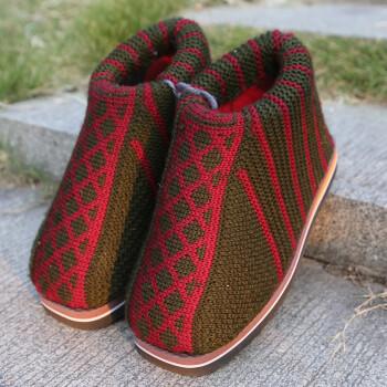 毛线拖鞋手工编织季居家保暖棉鞋防滑耐磨鞋底婚嫁勾线鞋生活 男款